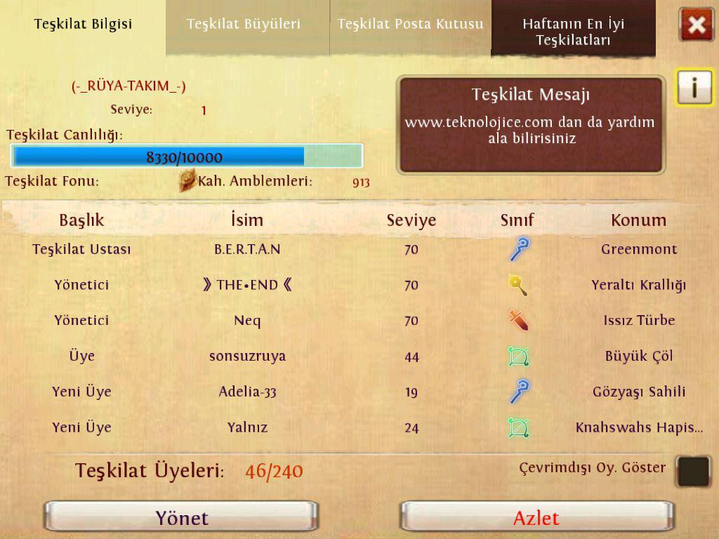 Order & Chaos Online Teşkilat ( klan ) Nedir?