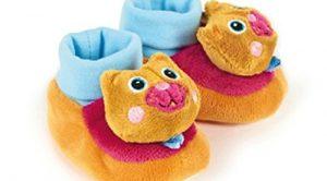 Üzgünüz 61001.11 Kaymaz taban ve hayvan desenli çıngıraklı yumuşak bebek ayakkabıları / terlikleri – ayı